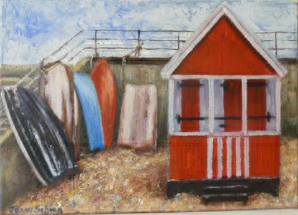 Beach hut and boats at Southend on Sea by Jenny Schrag