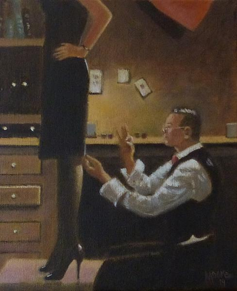 The Dedicated Dressmaker . Homage to Vettriano by David Moore