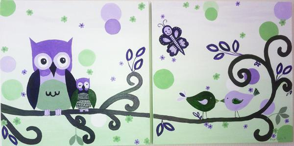 Togetherness - It's a Hoot! (Diptych) by Faye Giblin