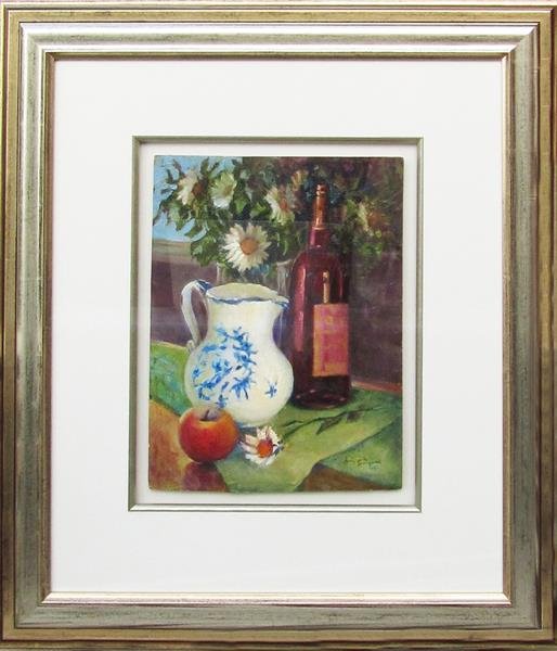 Blue and White Jug, Wine and Daisies by Jean Simpson