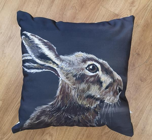 Night Watch, Hare Cotton canvas cushion by Eunice Friend