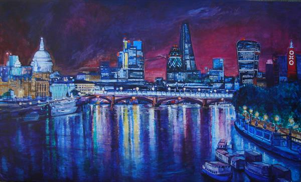 London Night reflections (Very Large Painting) by Patricia Clements