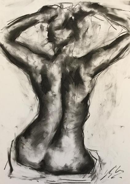 Delicate - Original Nude Charcoal Drawing by James Shipton