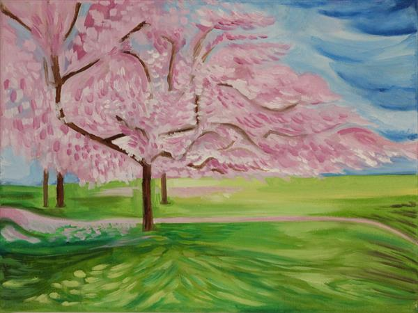 Spring Blossom Oil Painting by Miranda Net