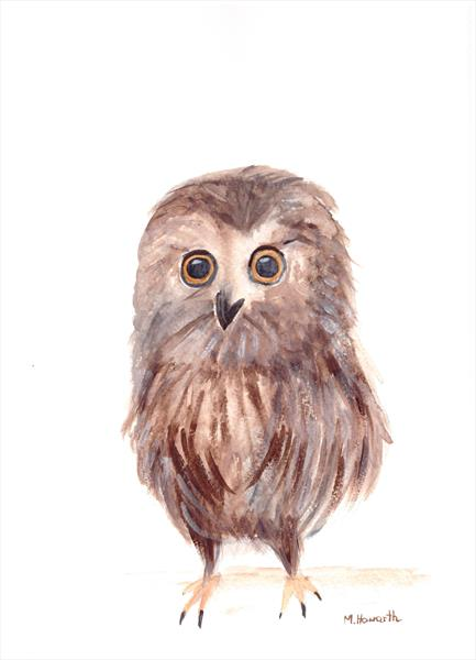 Baby owl (original watercolour)