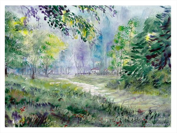 Summer Time. Watercolour landscape painting by Yulia Schuster