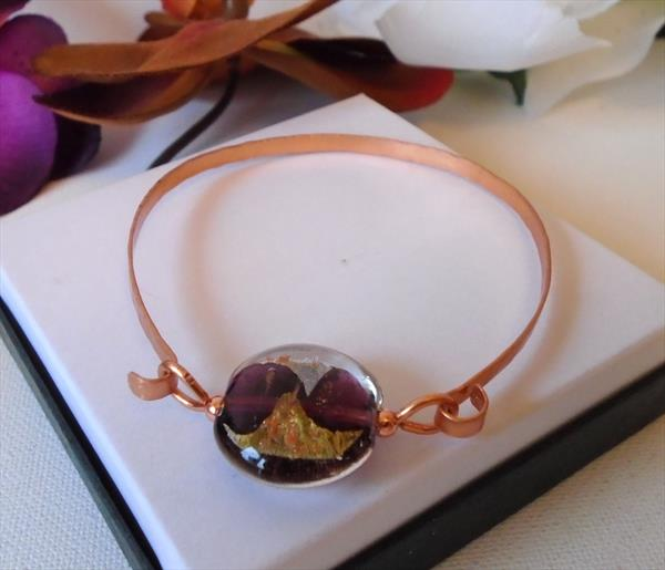 Handmade Hammered Copper Bracelet with Purple and Gold Lampwork Bead