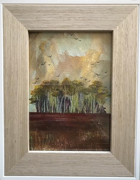 Autumn starlings - home to roost ( framed original oil ) by Sarah Gill