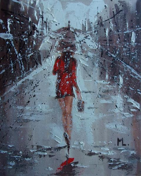 """ WILL FINDE YOU IN RAIN ""painting CITY palette knife (2018)"