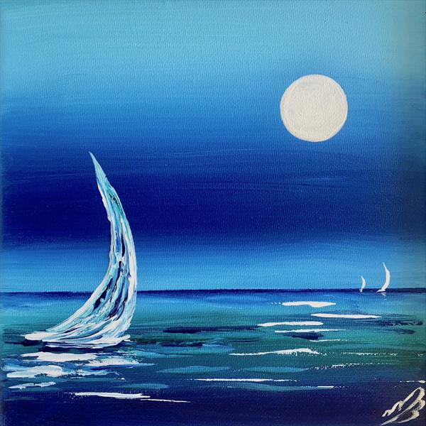 Study in blue. Sailing by the full moon by Marja Brown