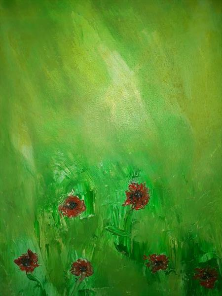 Emerald Poppies in Field by Angela Conway