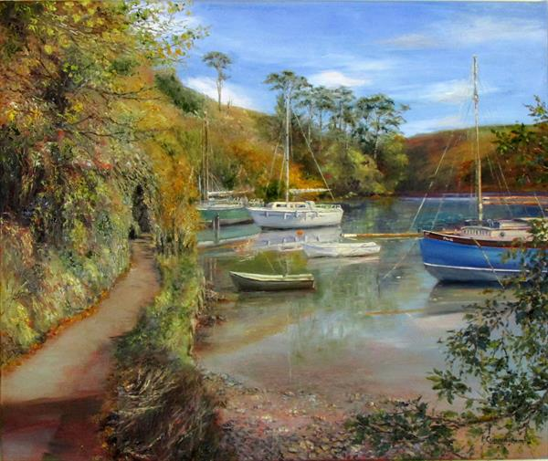 Boats Moored on Gillan Creek by Patricia Cunningham