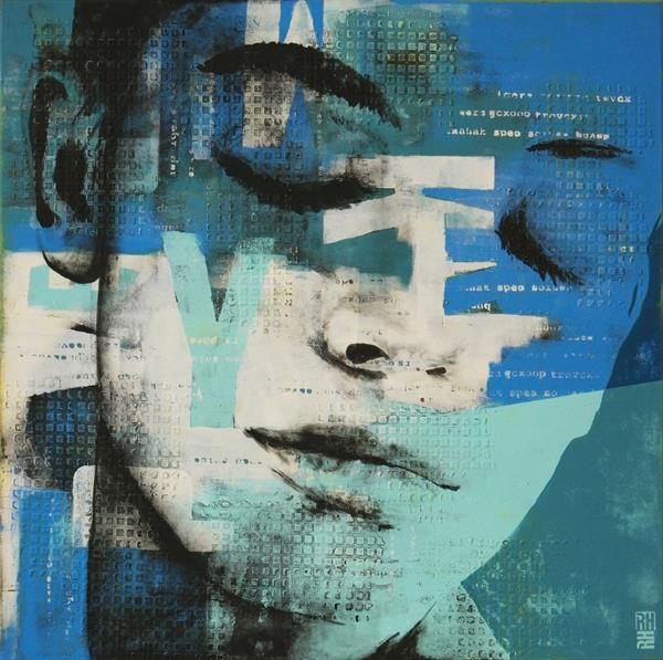 Typopop Face Blue - 10J by Ronald Hunter