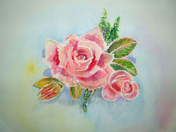 Pink rose with rosebud by Susan Hill