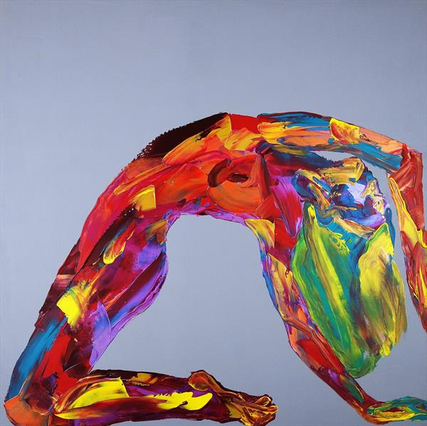 Yoga Nude in a Box Abstract 586 by Eraclis Aristidou