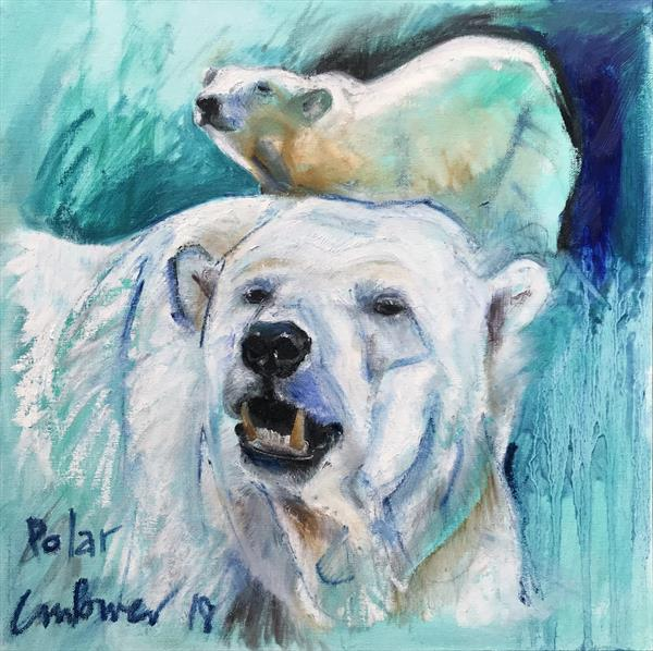 'Polar' - expressive oil bar Polar Bear painting on board by Luci Power