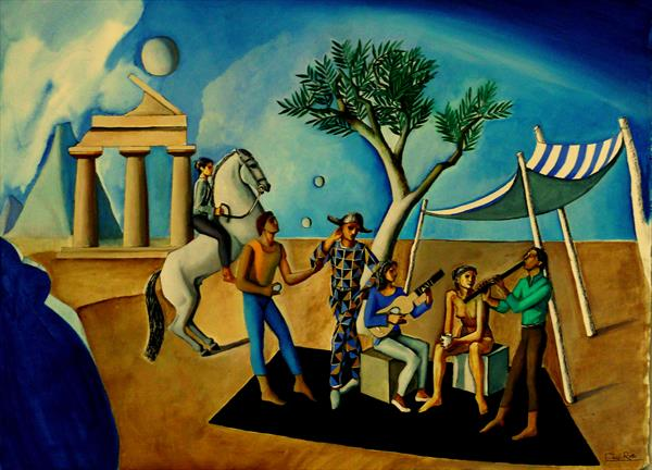 Acrobats and Musicians in Archaic Landscape by Paul Rossi