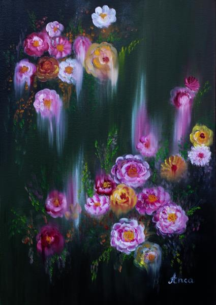 """""""Sunday flowers """"Modern flower painting, abstract flowers painting,original flowers wall art,  by Florentina(anca)  popescu"""