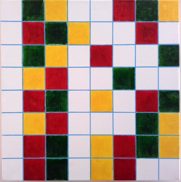 Duplicity of Life: GridLock with Traffic Lights GYR - RYG in Binary Code after Piet Mondrian by Vincent da Vinci