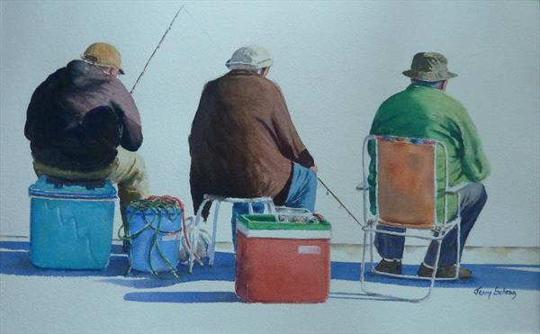 Three men fishing by Jenny Schrag