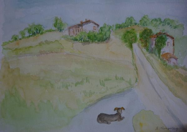 Country Scene, le Marche, Italy by Susan Temperley
