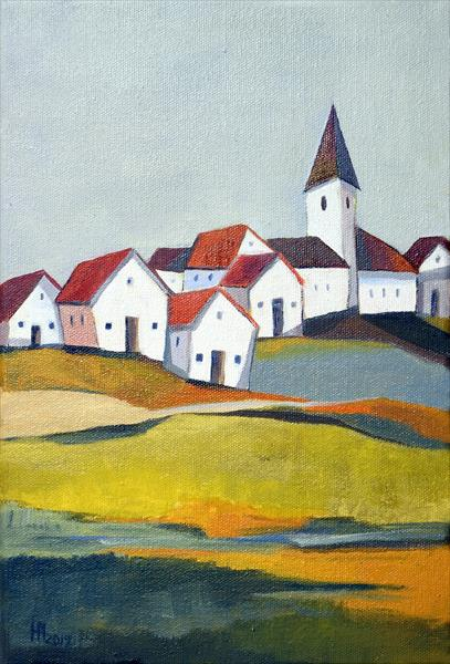 Houses on the hill by Aniko Hencz