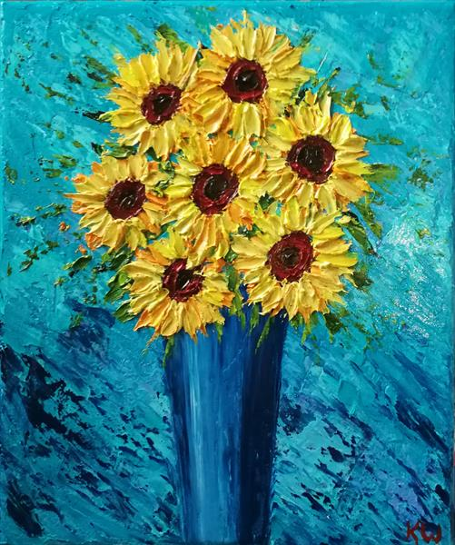 Vase of sunflowers  by Kelly  White