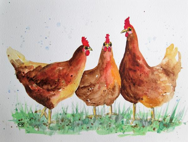 Free Range Chickens by Marjan's Art