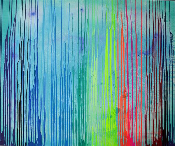 Upside Down Melted Rainbow - Ready to Hang Modern Large Abstract by Soos Tiberiu - Anton