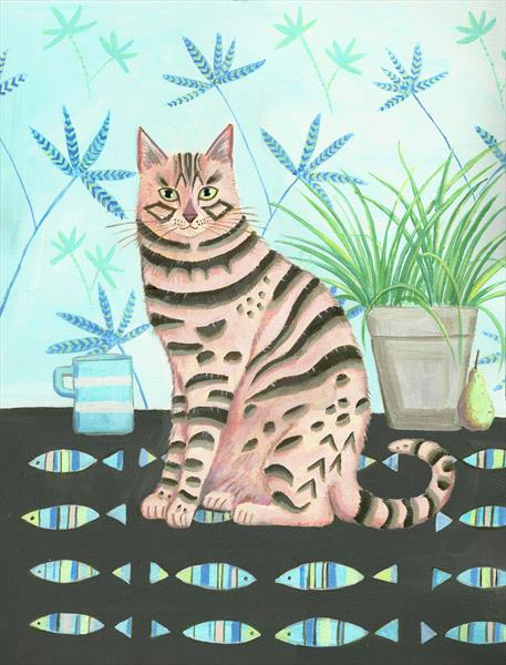 Bengal Cat with Still Life by Mary Stubberfield