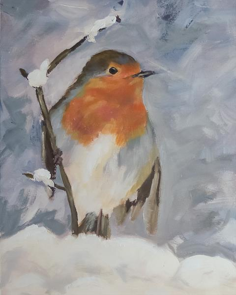 Robin in the Snow by John Crabb