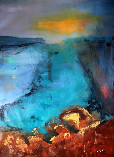 Blue Vertigo #2 - Large original abstract seascape  by Cecilia Frigati