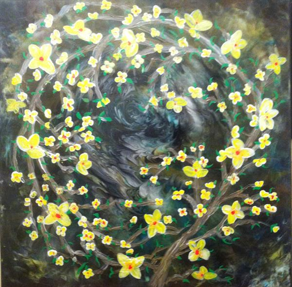 Enchantment Yellow Blossom on Green Blend by Faye Giblin