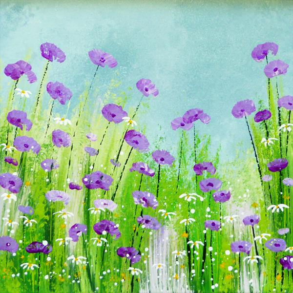 Purple Poppies by Elaine Allender