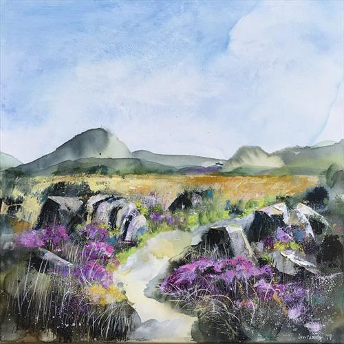 Heather Moors #01 - a Moorland landscape, 50 x 50cm by Luci Power