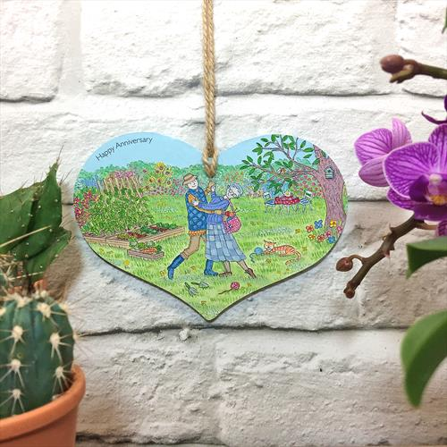 Happy Anniversary glossy vinyl print wooden heart shaped plaque by Lisa-Marie Davies