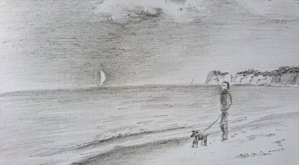 Seaside beach windy day Studland on the walk with dog Pencil Ink Sketch paper A5 by Elena Haines