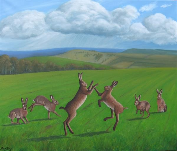 Hares on the Downs by Barry Toms