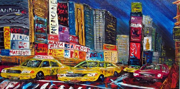 New york Taxi Times square By Night by Andrew Alan Matthews