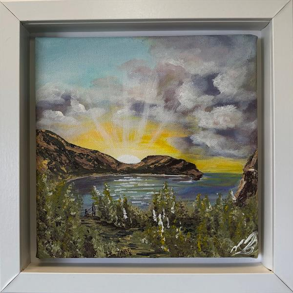 Sunrays at Lulworth Cove by Marja Brown