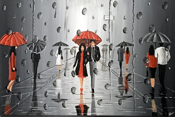 Umbrellas In The Rain 7 by Aisha Haider
