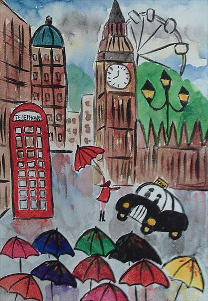 Big Ben in the Rain, Naive painting by Casimira Mostyn