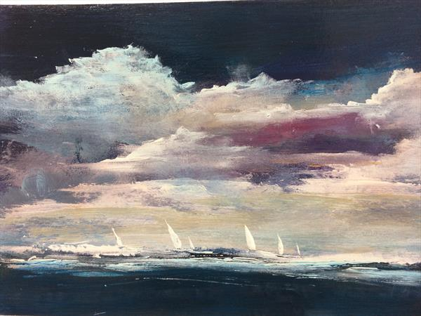 Dark Skies Sombre And Lonely XV  Seascape With Boats  by Maxine Martin