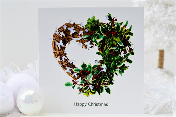 Christmas Wreath Butterfly Five Card Pack by Sara Lawson