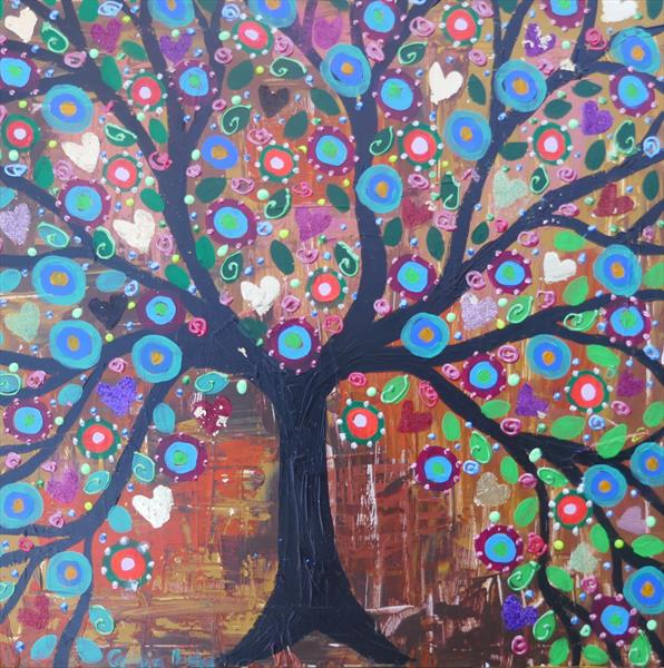 The Sparkly Tree with hearts and flowers by Casimira Mostyn