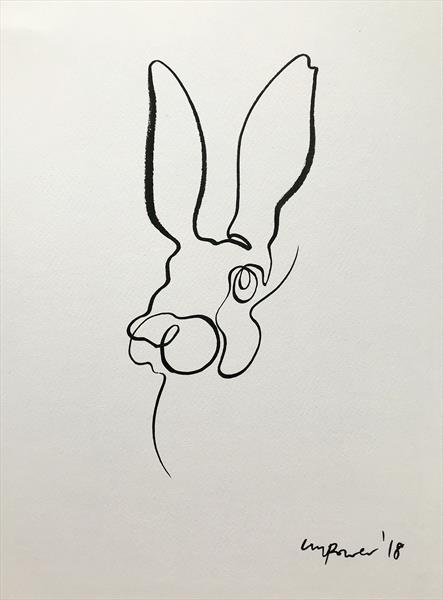 Minimal Hare #01 - single line drawing ink by Luci Power ...