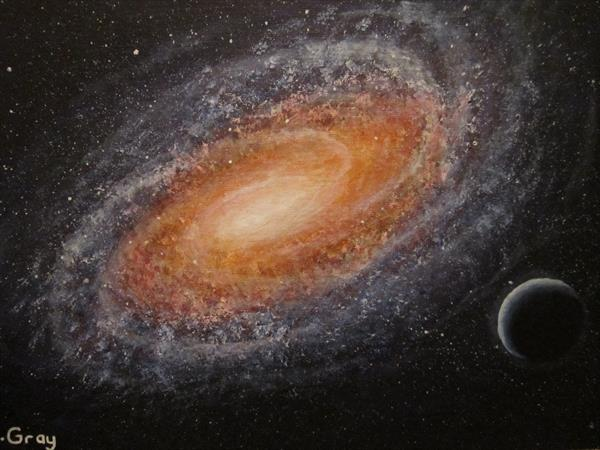 Original Galaxy Acrylic Painting 10'' x 14'' by Barry John Gray