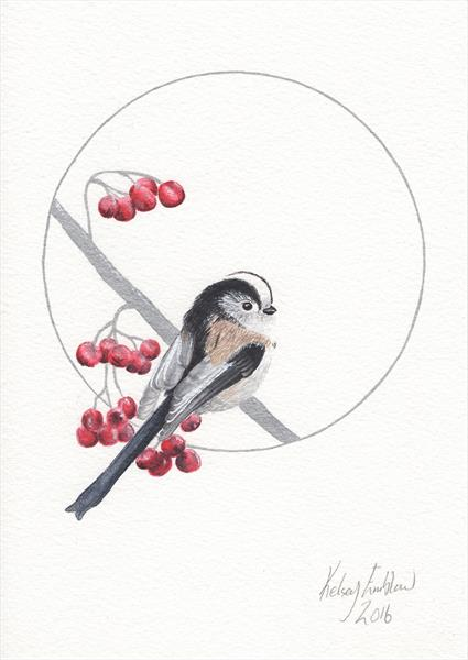 Long Tailed Tit Watercolour Painting by Kelsey Emblow