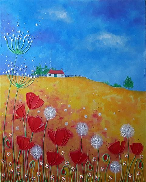 Poppies and dandelion puffs by Angie Livingstone