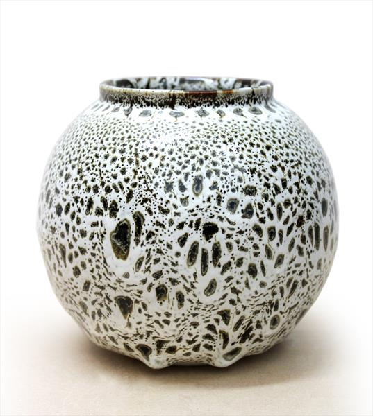 Vase with White Oil Spot Glaze by Albert Montserrat